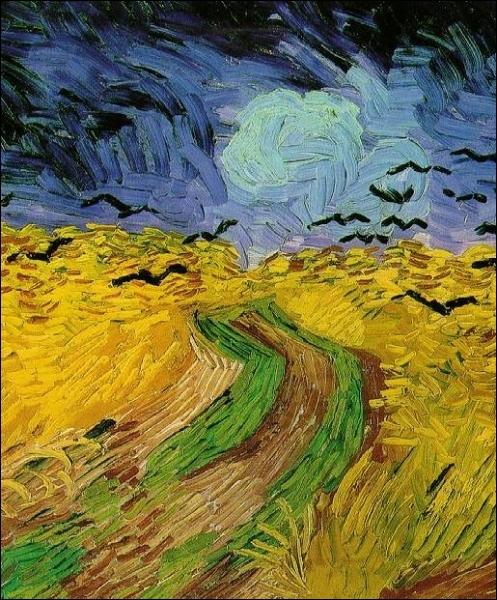 Dès 1889 jusqu'à la fin de sa vie, Van Gogh se mit à peindre une série de tableaux représentant des CHAMPS DE BLÉ, dont celui-ci. Quels oiseaux sont représentés sur cette toile ?