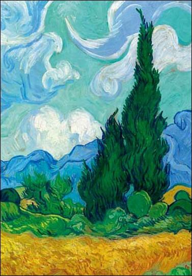 Van Gogh aimait beaucoup cette espèce d'arbres que l'on retrouve sur plusieurs de ses œuvres, comme  La Nuit étoilée  ou, celle-ci, intitulée  Les Blés jaunes . De quels arbres s'agit-il ?