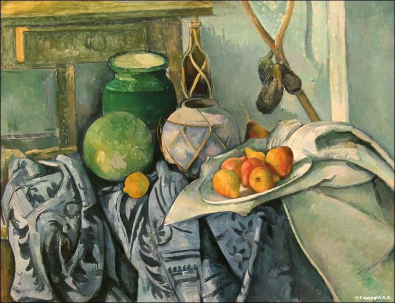 De quel artiste post-impressionniste, né à Aix-en-Provence, est cette nature morte à l'aubergine et gingembre ?