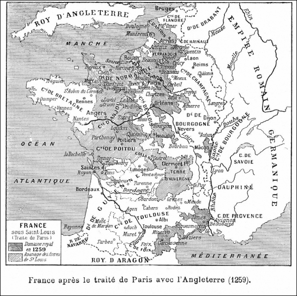 Sous quel règne, le traité de Paris règle-t-il les conflits avec l'Angleterre ?