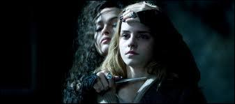Quels mots écrit Bellatrix sur le bras d'Hermione ?