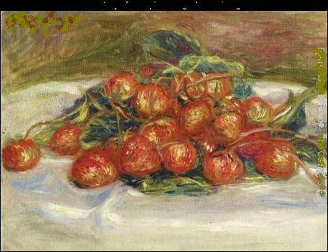 Nature morte de l'un des plus célèbres peintres né en 1841 et mort en 1919. Qui a peint cette nature mortes aux fraises ?