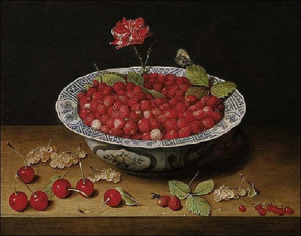 La  Nature morte à l'œillet et aux fraises sauvages . Le rouge des pétales trouve son écho à la fois dans les fraises et les cerises. Un liseré et quelques touches de transparence blanche pour mieux en souligner l'éclat. Un tableau de :
