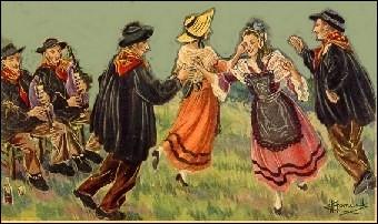 Quelle danse est à deux temps dans le Berry et à quatre temps en Auvergne ?