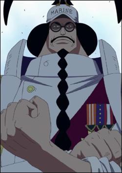 Quel est le nom du type à lunettes qui est un membre haut classé dans la marine dans le manga le plus vendu au monde : One piece ?