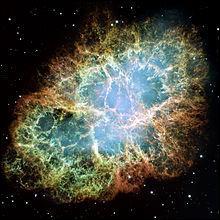 Voici la splendide Nébuleuse du Crabe, née d'une supernova qui a été effectivement observée par plusieurs astronomes chinois de la dynastie Song de juillet 1054 à avril 1056 ! Que contient - elle en son centre d'un diamètre de 30 km ?
