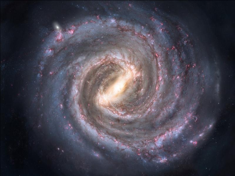 C'est grâce à la radioastronomie en 1951 qu'on a pu déterminer la forme de notre galaxie, qui est en spirale (les galaxies spirales représentent 80 % de l'ensemble des galaxies) et en disque plat. Il existe d'autres formes, la forme... ?