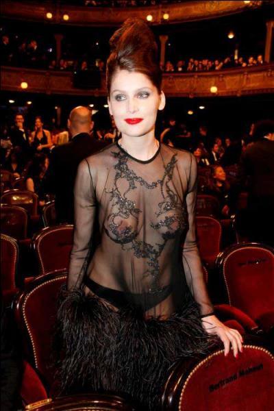 Là aussi le murmure qui a parcouru la salle a reflété le scandale du choix de la robe totalement transparente portée par Laetitia Casta à la Cérémonie des Césars 2010, où elle remettait un Prix. Ce qui a choqué certains, c'est... ?