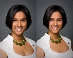 Voici une double-photo, qui montre la rectification (dans un sens puritain) du décolleté de cette jeune femme, réalisé par Photoshop. Cette rectification, qui a fait scandale, a été faite pour quelle raison ?
