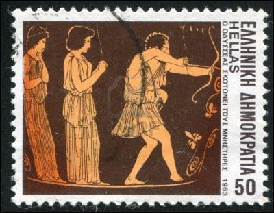 Sur ce timbre, vous pouvez-voir sur la droite un personnage de la mythologie grecque, muni d'un arc, qui est-il ? !