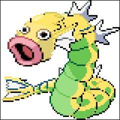 Ici, il s'agit d'un Pokémon de type eau/vol qui est l'évolution d'une carpe ! L'autre, est un Pokémon de type plante qui a la bouche ouverte en permanence !