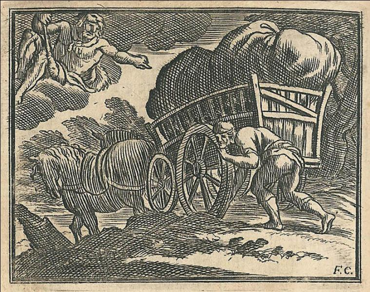 La Fontaine a contribué au succès de ce proverbe par sa fable  Le charretier embourbé . Le dieu Hercule vient en aide au charretier en lui indiquant ce qu'il faut faire pour se désembourber tout seul. Quel est le proverbe qui invite à mettre tout en œuvre pour réussir seul ?
