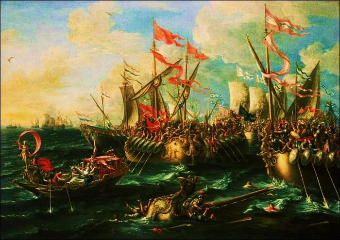 Le 2 sept. -31 arrive la bataille d'Actium entre Octave et Marc-Antoine secondé par Cléopâtre qui finance la guerre. La bataille décisive se déroulera-t-elle sur mer ou sur terre ?