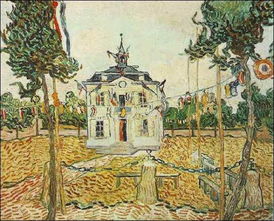 La mairie d'Auvers sur Oise le 14 juillet 1890