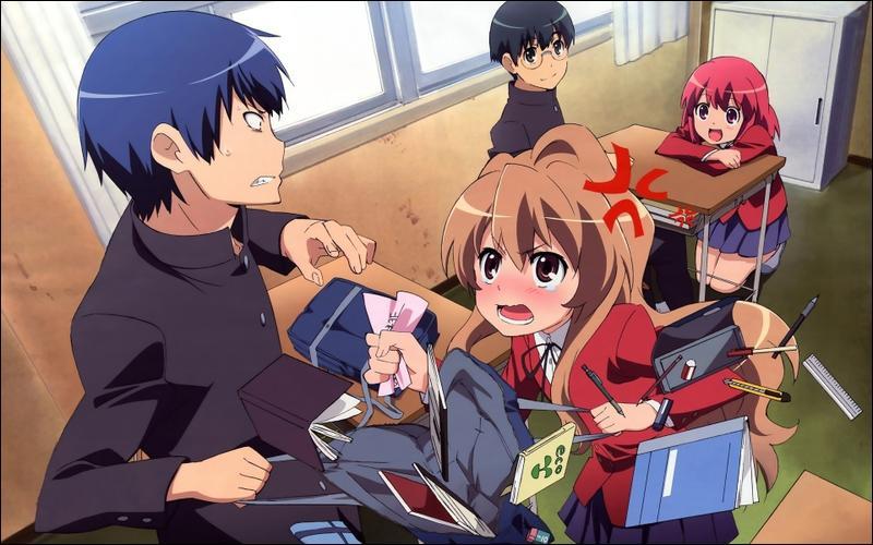 Ryûji est considéré comme un délinquant à cause de son regard menaçant. Taiga, elle, a un assez mauvais caractère, ces deux personnages sont voisins. A quel animé appartiennent-ils ?
