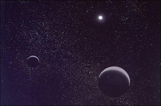 Quelle planète qui a été requalifiée en planète naine en 2006, se trouve au premier plan de cette photo? (au second plan se trouve son satellite Charon)