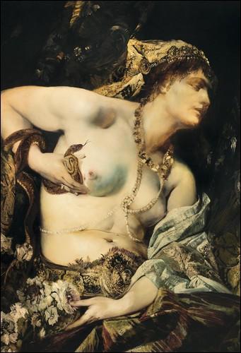 Selon la légende la plus connue (et la plus représentée), comment Cléopâtre s'est-elle donné la mort ?
