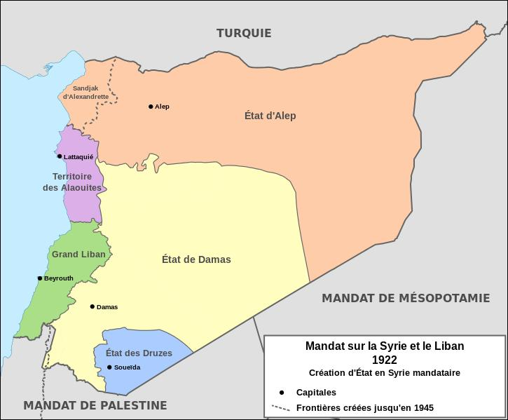 A l'issue de la Première Guerre mondiale, la France obtient en 1920 le mandat sur deux territoires du Proche-Orient appartenant jusqu'en 1918 à l'Empire ottoman. Il s'agit de