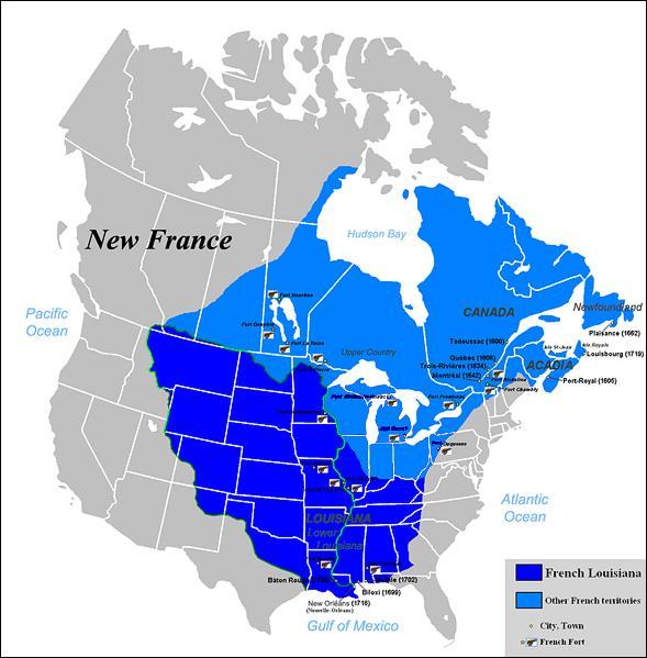 En 1682, Cavelier de la Salle descend le Mississippi jusqu'à son embouchure. L'immense territoire qu'il explore prend en l'honneur du roi de France Louis XIV le nom de