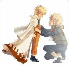Que fait Naruto lorsqu'il voit son père pour la première fois ?