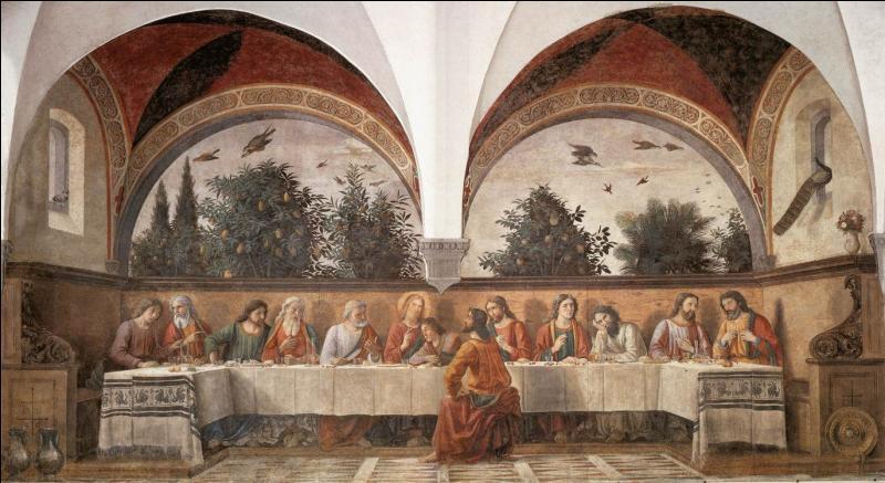 Un peu plus de 40 ans plus tard, un peintre réalise deux fois la Cène, en 1482 au réfectoire du couvent d'Ognissanti, puis celle du petit réfectoire du couvent San Marco, vers 1486. Qui est ce peintre, ami de Botticelli et du Pérugin ?
