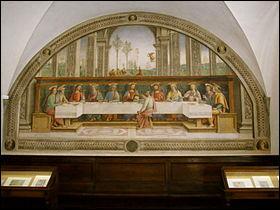 De 1493 à 1496, un artiste réalise une fresque sur le sujet au  Cenacolo di Fuligno  à Florence. Qui ?