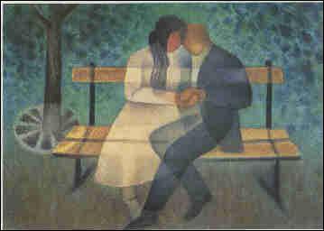 Qui a peint Amoureux sur le banc public ?