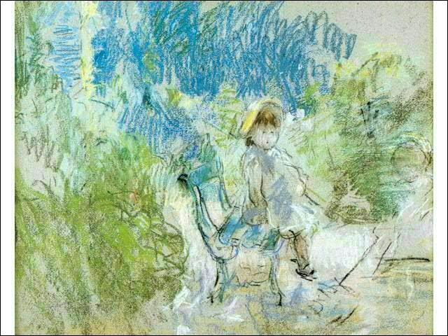 Qui a peint Enfant assise sur un banc de jardin ?