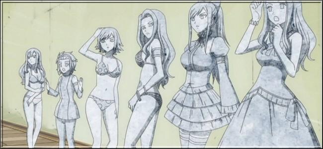 (Épisode 42) Pour le concours de Miss Fairy Tail, chaque participante se présente en faisant quelque chose de particulier. Que fait Lucy ?