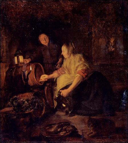 Femme tirant du vin d'un tonneau , est une oeuvre de :