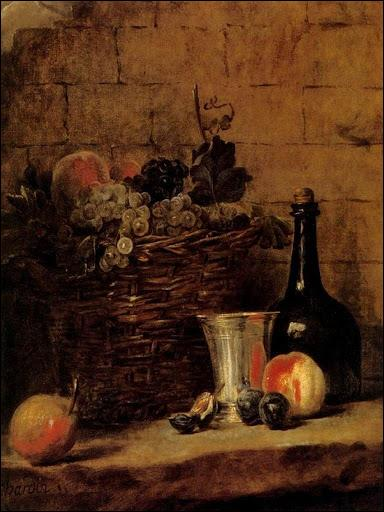 Panier de raisins blancs et noirs , nature morte. Qui a peint ce tableau ?