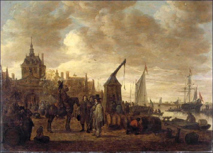 Marchands de vin et dégustateur à cheval sur un quai à Dordrecht , tableau exécuté en 1651 par un peintre de paysages néerlandais, il s'agit de :