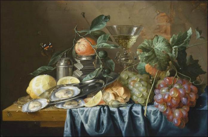 A quel peintre néerlandais de l'époque baroque doit-on cette  Nature morte aux huitres et raisins , exécutée en 1653 ?
