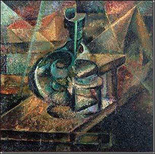 A quel peintre italien, théoricien du mouvement futuriste, doit-on  Nature morte à la bouteille  ?