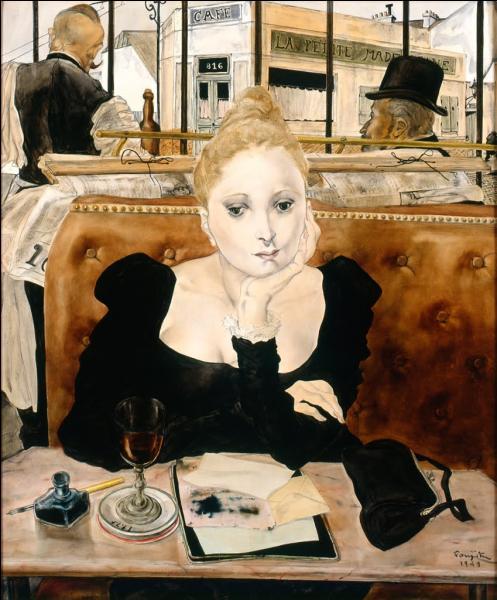 Ce peintre a fait partie de  l'école de Paris , regroupant les artistes exilés à Paris à Montparnasse, dans les années 1905, tels Soutine, Chagall ou Modigliani. Il a réalisé  Au café  en 1912. Il s'agit de :