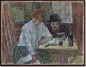 Quel peintre et lithographe français né à Albi est l'auteur de cette peinture :  Au café la mie  ?