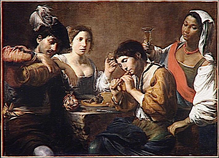 Réunion dans un cabaret  (1625) est un tableau du peintre caravagiste :
