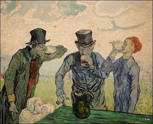 Les buveurs  , peinture inspirée d'un dessin d'Honoré Daumier, est l'oeuvre du peintre post-impressionniste :