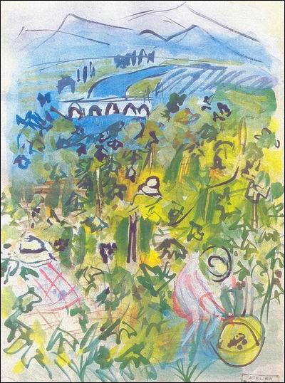 Qel artiste né au Havre, est l'auteur de cette aquarelle réalisée en 1940, intitulée  Les vendanges  ?