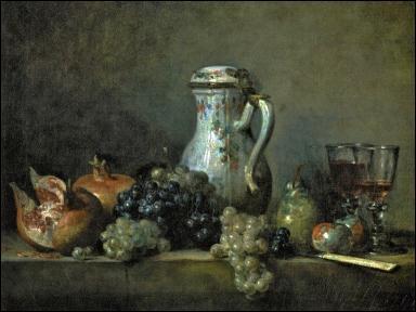Qui est l'auteur de cette nature morte intitulée  Raisins et grenades , réalisée en 1763 ?