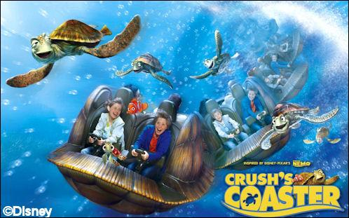 Quelle attraction se trouve juste à côté de Crush coaster ?