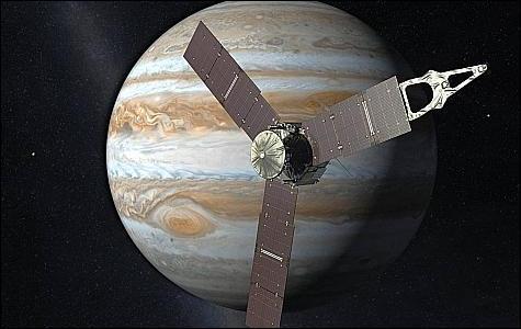 La sonde Juno est en route vers ... , la plus grosse des planètes. A partir de 2016, elle orbitera autour de cette géante gazeuse pour essayer de connaître le secret de sa formation.