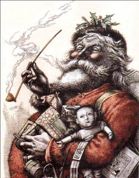 Nous savons que, dans le passé, le père Noël a été représenté en blanc et en vert, mais qui lui a donné pour la première fois sa représentation en rouge ?
