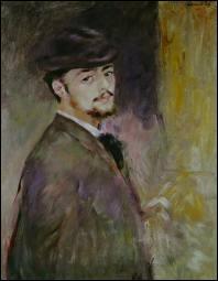 Cet autoportrait d'un grand peintre impressionniste, exposé au musée de Cambridge, nous est peu connu. C'est l'année où il réalise  Bal au moulin de la galette , il a 35 ans.