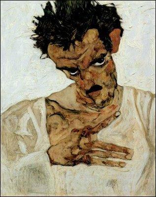 Autoportrait à la tête penchée , a été réalisé en 1912, lorsqu'il avait 22 ans, par un peintre autrichien, mort très jeune de la grippe espagnole. Il s'agit de :