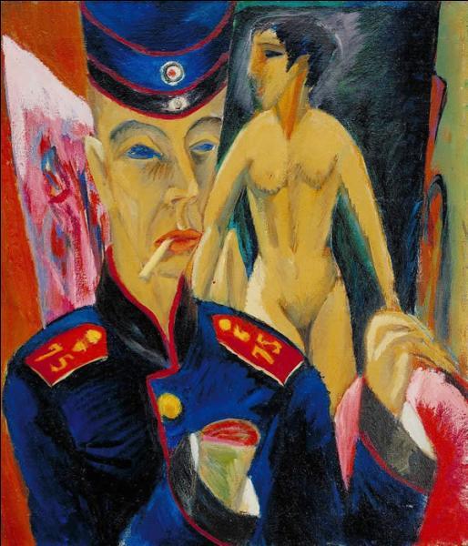 A quel peintre expressionniste allemand doit-on cet  Autoportrait en soldat  en 1915, réalisé lorsqu'il avait 35 ans ?