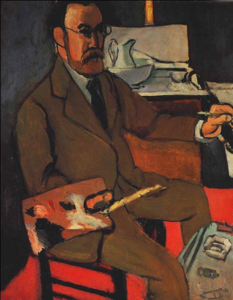 Quel peintre né au Cateau- Cambrésis, dans le Nord, s'est représenté ici dans son atelier, en 1918, à l'âge de 49 ans ?