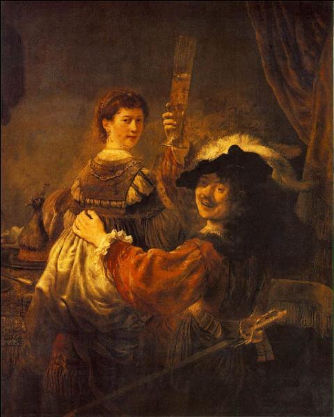 Quel peintre s'est représenté à 29 ans, dans cet  Autoportrait avec Saskia  en 1635 ?