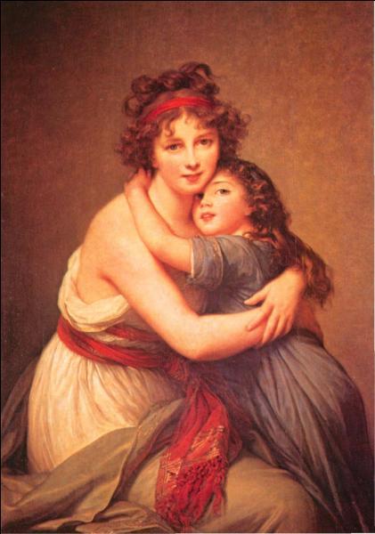 Elle a réalisé beaucoup d'autoportraits, peintures ou pastels et s'est représentée ici avec sa fille en 1789, elle a alors 34 ans :