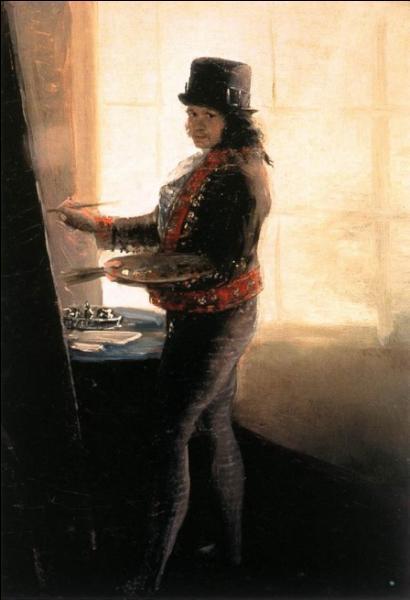 Cet artiste espagnol, célèbre pour son tableau  El tres de mayo , a 45 ans lorqu'il peint  Autoportrait dans l'atelier . De qui s'agit-il ?